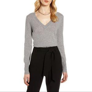 Halogen Cashmere V-neck Sweater Grey Small
